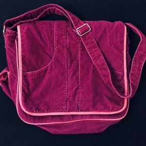 Fuchsia corduroy Messenger Bag